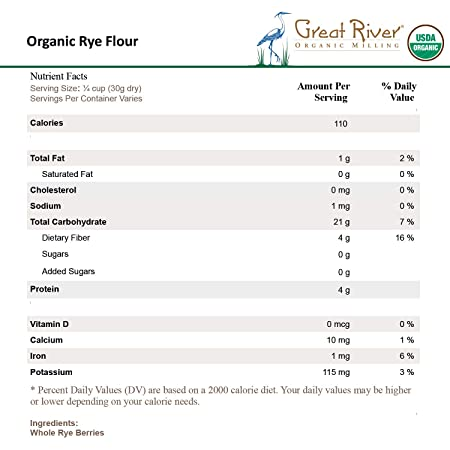 Great River Organic Milling, Specialty Flour, Rye Flour, Stone Ground,  Organic, 25-Pounds (Pack of 1)