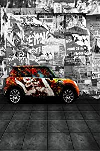 ALUONI 7x5ft Modern,Traffic Jam with Bunch of Cars Automobiles Life Downtown Artsy Backdrop Vintage Photo Background Cotton for Booth Graduation Prom Decor No Wrinkle AM022693