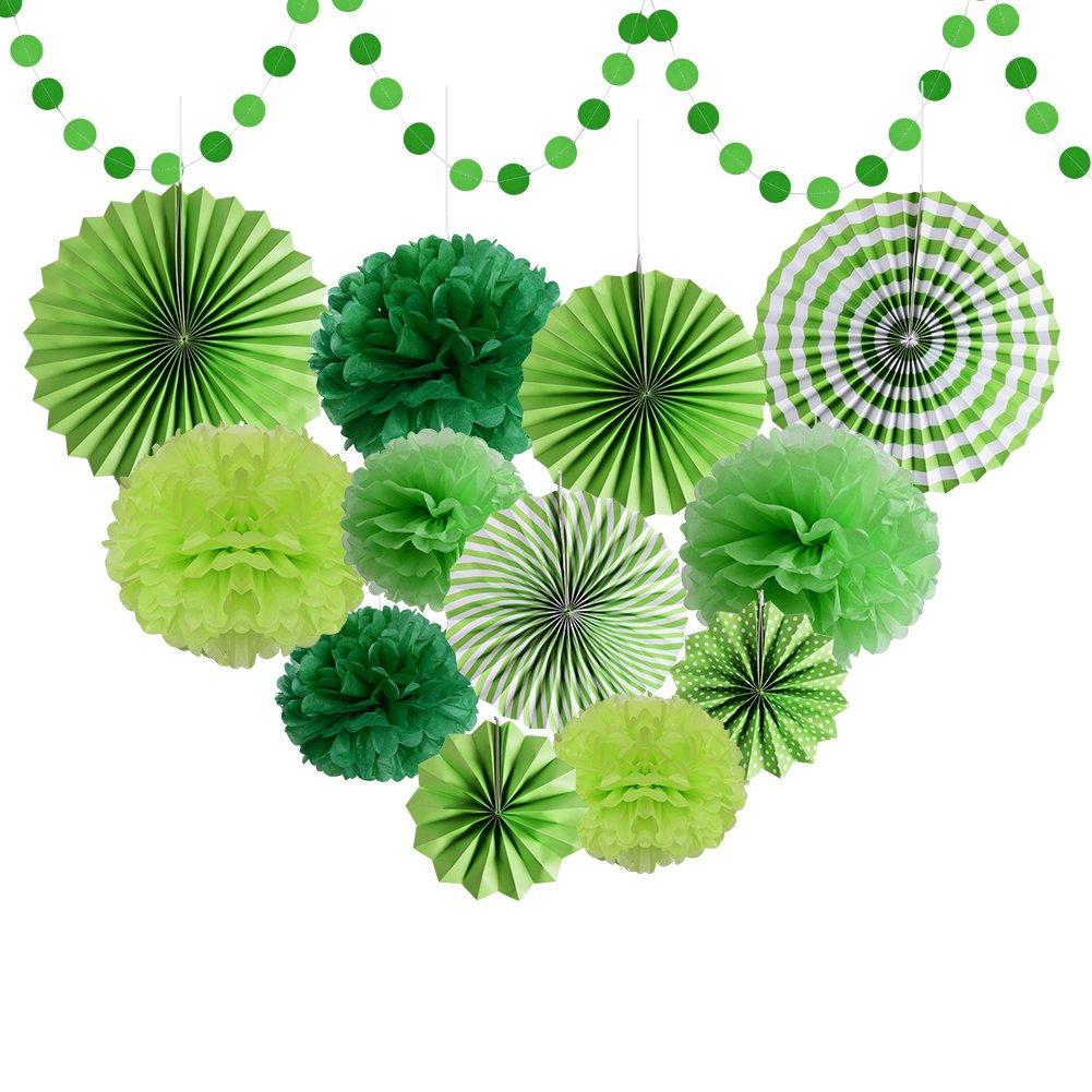 Threemart Paper Tissue Pom Poms Flower For Dinosaur Birthday Baby Showers Wedding Green Party Decorations Supplies