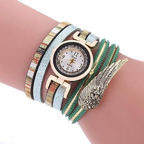 SSDONG Los Modelos de Mujer Miran los Relojes de Moda sinuosos más vendidos alas decoración de los Estudiantes Relojes, Verde Rosa Color Oro Color Cuarzo ...