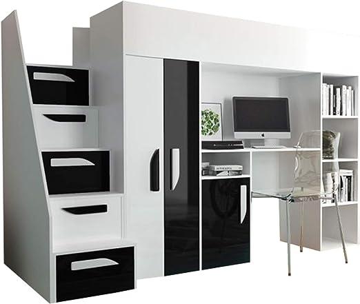 Mirjan24 Hula 14 - Litera para niños, con armario, escritorio y escaleras, varios colores a elegir: Amazon.es: Hogar