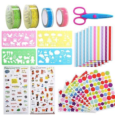 HUAESIN 22pcs Kit de Album de Fotos de Bricolaje Pegatinas Album Fotos Esquinas Decorativos Accesorios Album Scrapbook Conjunto de Pegatinas Colores ...