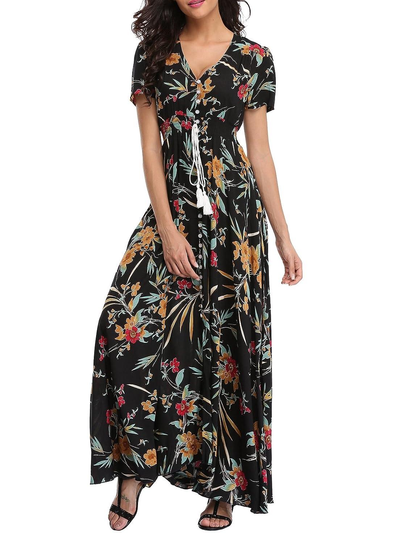 Black&floral 04 1stvital Women's Fancy Floral Print Short Sleeve Button Up Split Boho Summer Beach Maxi Dress