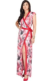4be3b2c74767 KOH KOH Womens Long Cap Sleeve Sexy Wrap Floral Print Summer Sundress Maxi  Dress
