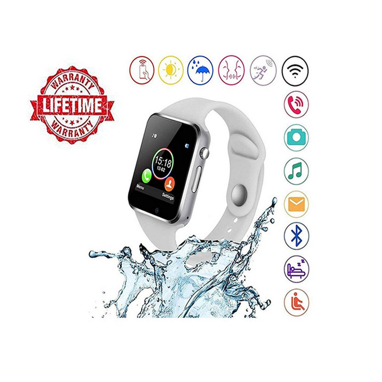 Smart watch android,HongTu Bluetooth Smart Watch TouchScreen with Camera Pedometer SIM TF Card Slot for LG XiaoMi HuaWei Samsung IOS for Mens Women (white-01)