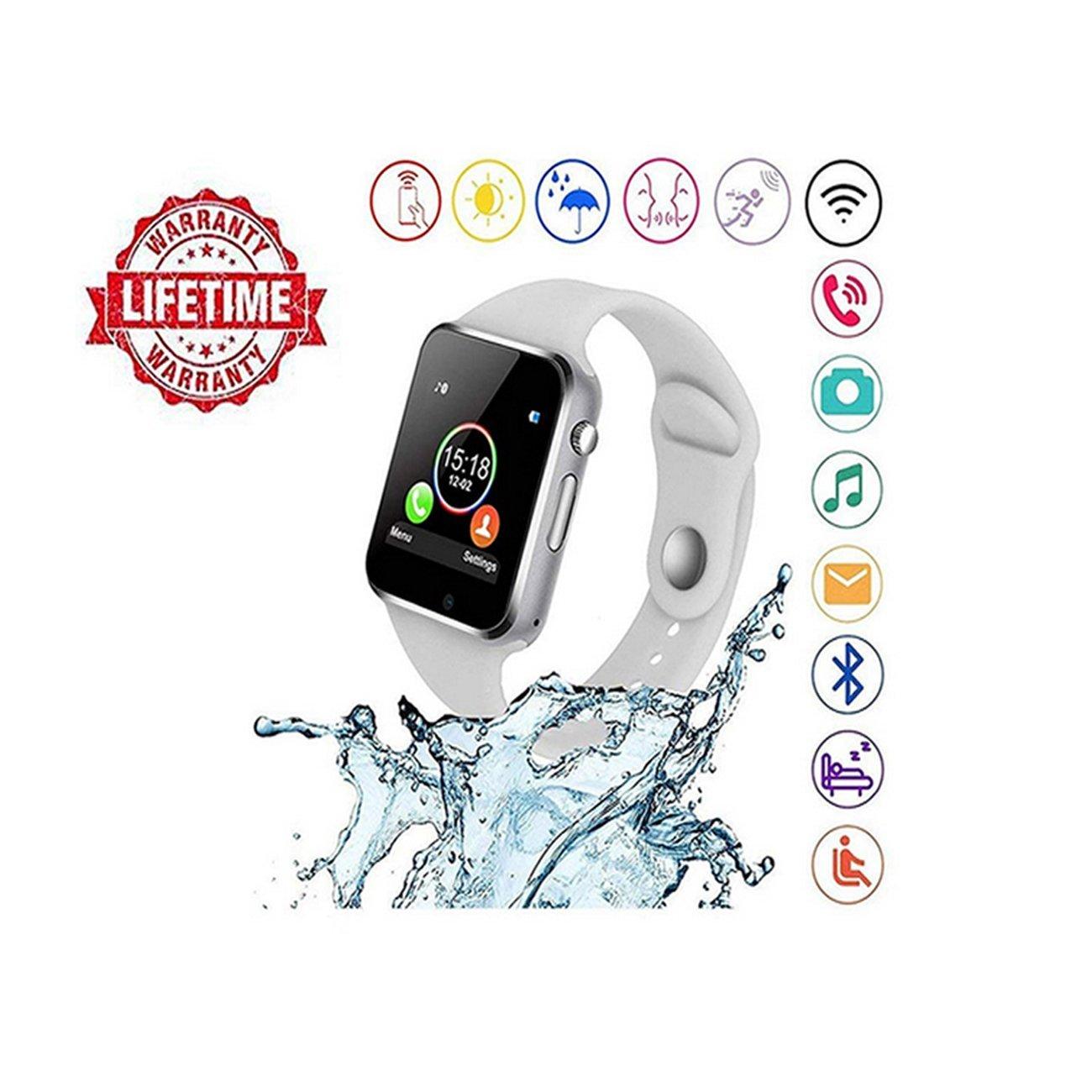 Smart Watch Android,HongTu Bluetooth Smart Watch Touchscreen Camera Pedometer SIM TF Card Slot LG XiaoMi Huawei Samsung iOS Mens Women (White'')