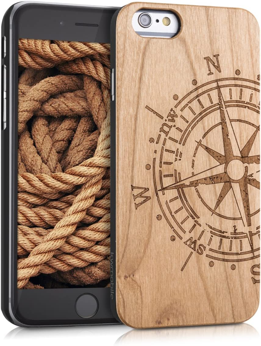 kwmobile Wood Case Compatible with Apple iPhone 6 / 6S - Non-Slip Natural Solid Hard Wooden Protective Cover - Compass Light Brown