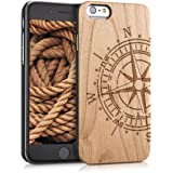 kwmobile Protective case for Apple iPhone 6 / 6S with cork cover and pockets – hardcase in light brown