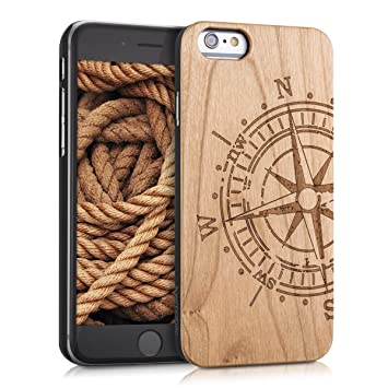 kwmobile Funda dura de madera madera de cerezo para Apple iPhone 6 / 6S Carcasa protectora de móvil Diseño Brújula en marrón claro