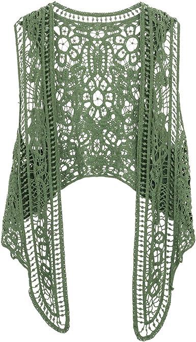Vintage Knit Cardigan Summer Knitted Green blazer Women Bohemian cardigan sleeveless Green Crocheted Vest Small Size