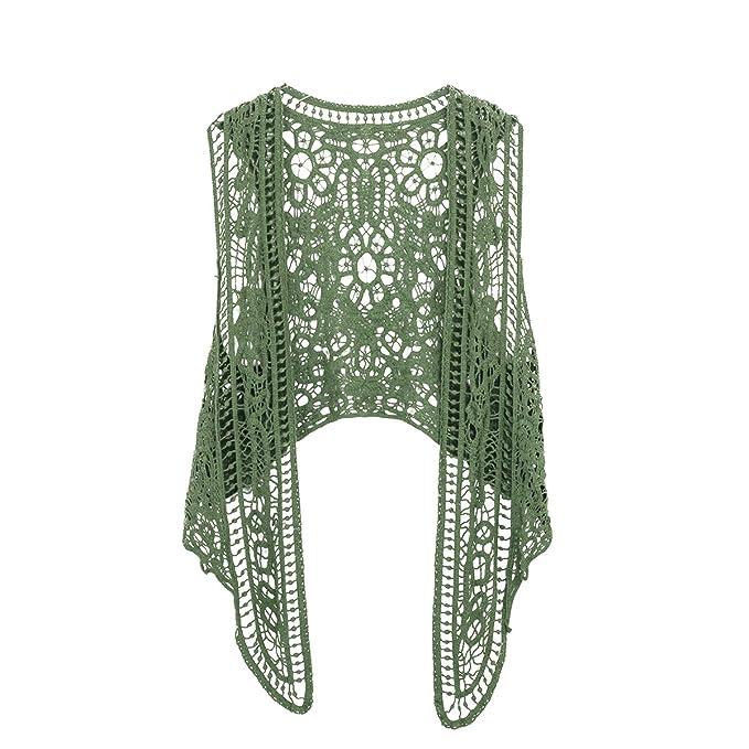 Amazon.com: Chaleco tejido en crochet estilo bohemio hippie ...