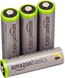 AmazonBasics 4 Pack AA High Capacity Ni-MH Pre-Charged Rechargeable Batteries, 1000 Cycle (Typical 2400mAh)
