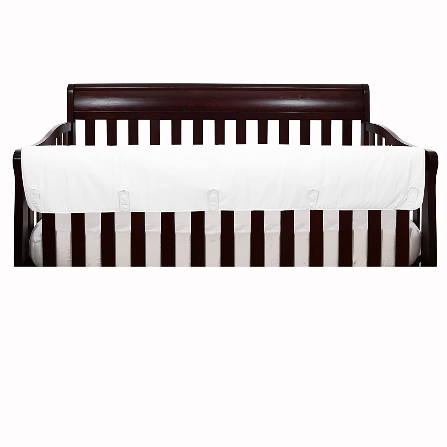 Solid Ivory Front Crib Rail Guard Padded Protector - 100% Cotton Fabrics The Peanut Shell RGLPSIVY