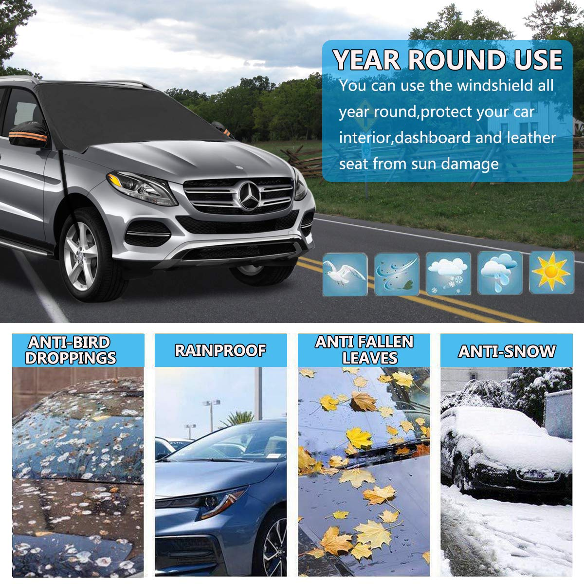Cars 85x49 SUVs Trucks KASQA Car Windshield Snow Cover with Side Mirror Covers,Extra Large Windshield Cover for Ice and Snow Waterproof Sun Protection Fits for Most Vehicles