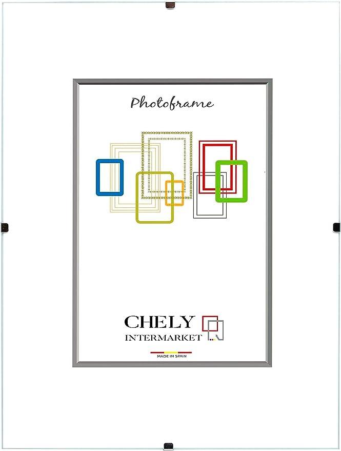 Chely Intermarket, Marco Clip 60x80 cm de metacrilato | Soporte sin Marco para fotografías, Posters, certificados y Recuerdos. Complemento idóneo para Colgar en la Pared(300-60x80-1,85)