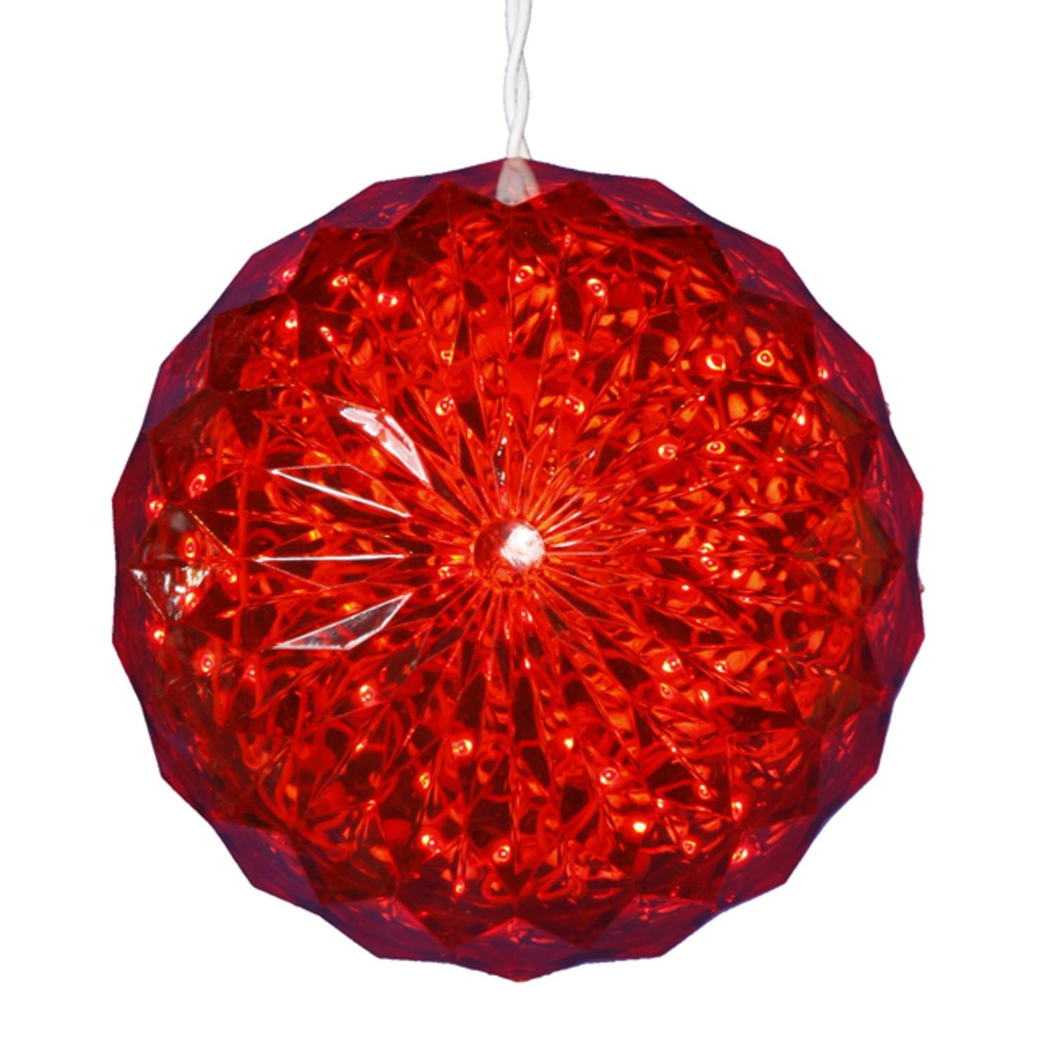 amazoncom penn 6 red led lighted hanging christmas crystal sphere ball outdoor decoration home kitchen - Christmas Sphere Lights