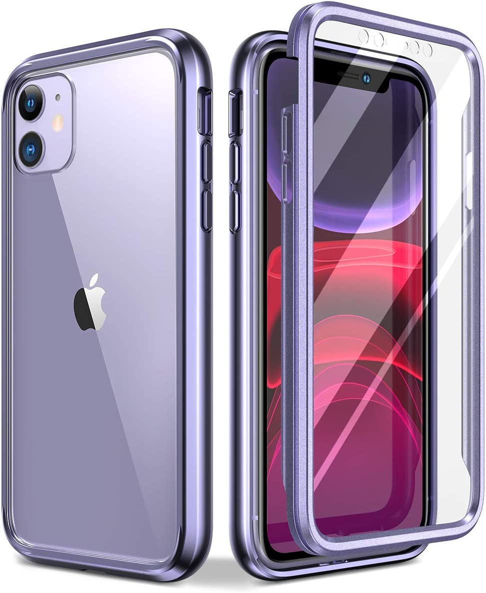 """SURITCH Clear Case for iPhone 11, [Built in Screen Protector][9H Tempered Glass Back][Metallic Electroplated Edges] Shockproof Hard Full Body Protection Silicone Bumper Case for iPhone 11 6.1""""(Purple)"""