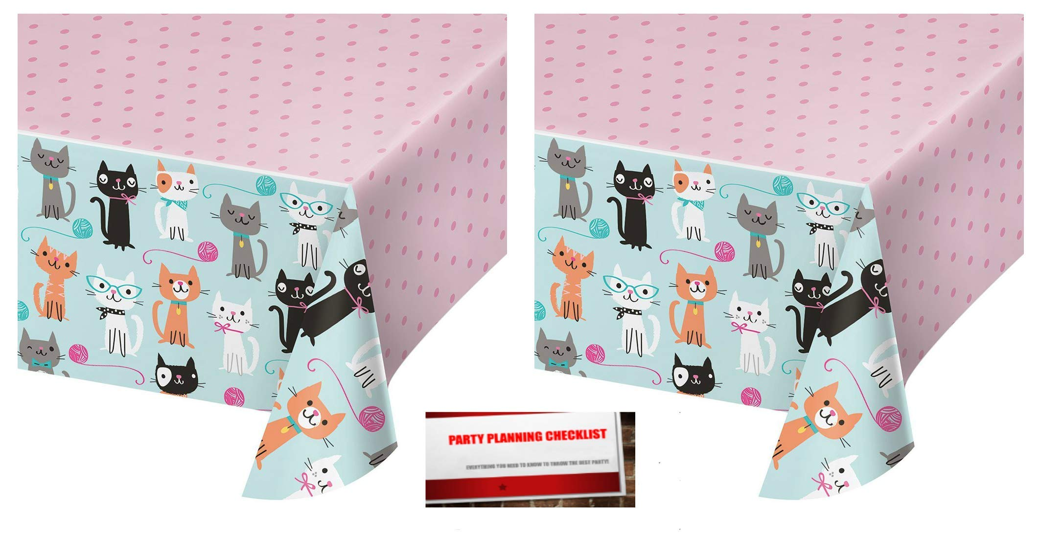 2 Pack - Kitty Cat Purr-FECT Party Plastic Table Cover 54 x 102 inches (Plus Party Planning Checklist by Mikes Super Store)