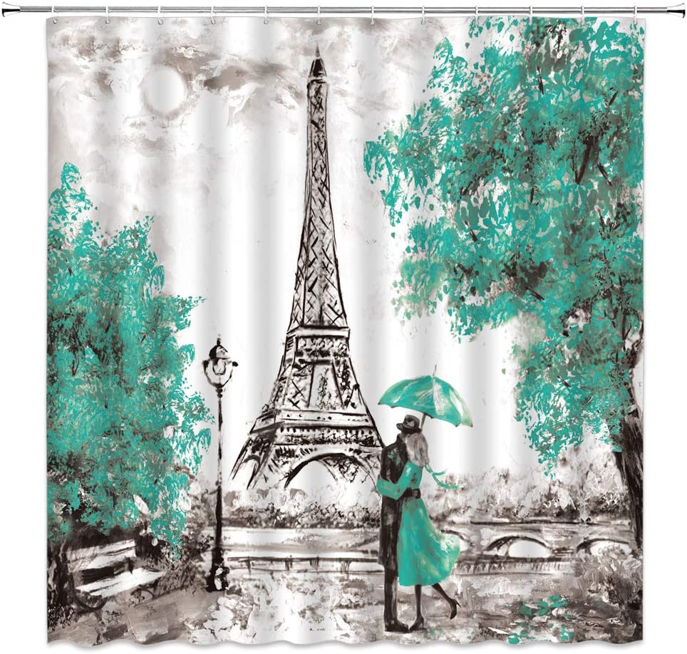 Oil Painting Paris Shower Curtain Eiffel Tower European City Landscape Vintage Art Tree Modern Couple Teal Black White Bathroom Decor Quick Drying Polyester Fabric Set with Hooks,(70