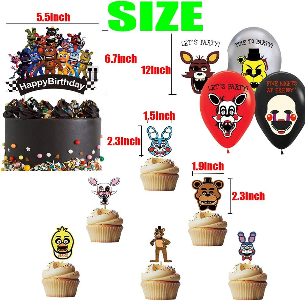 24 Cupcake Toppers 24 Balloons-Kids Wall Door Outdoor Indoor D/écor Jshend Birthday Party Supplies For Five Nights at Freddys Includes Banner 1 Set of Cake Topper