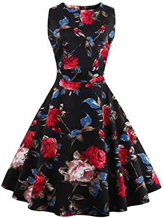 Joansam 50s Vintage Style Rockabilly Swing Picnic Evening Party Cocktail Dress JS1285B-S
