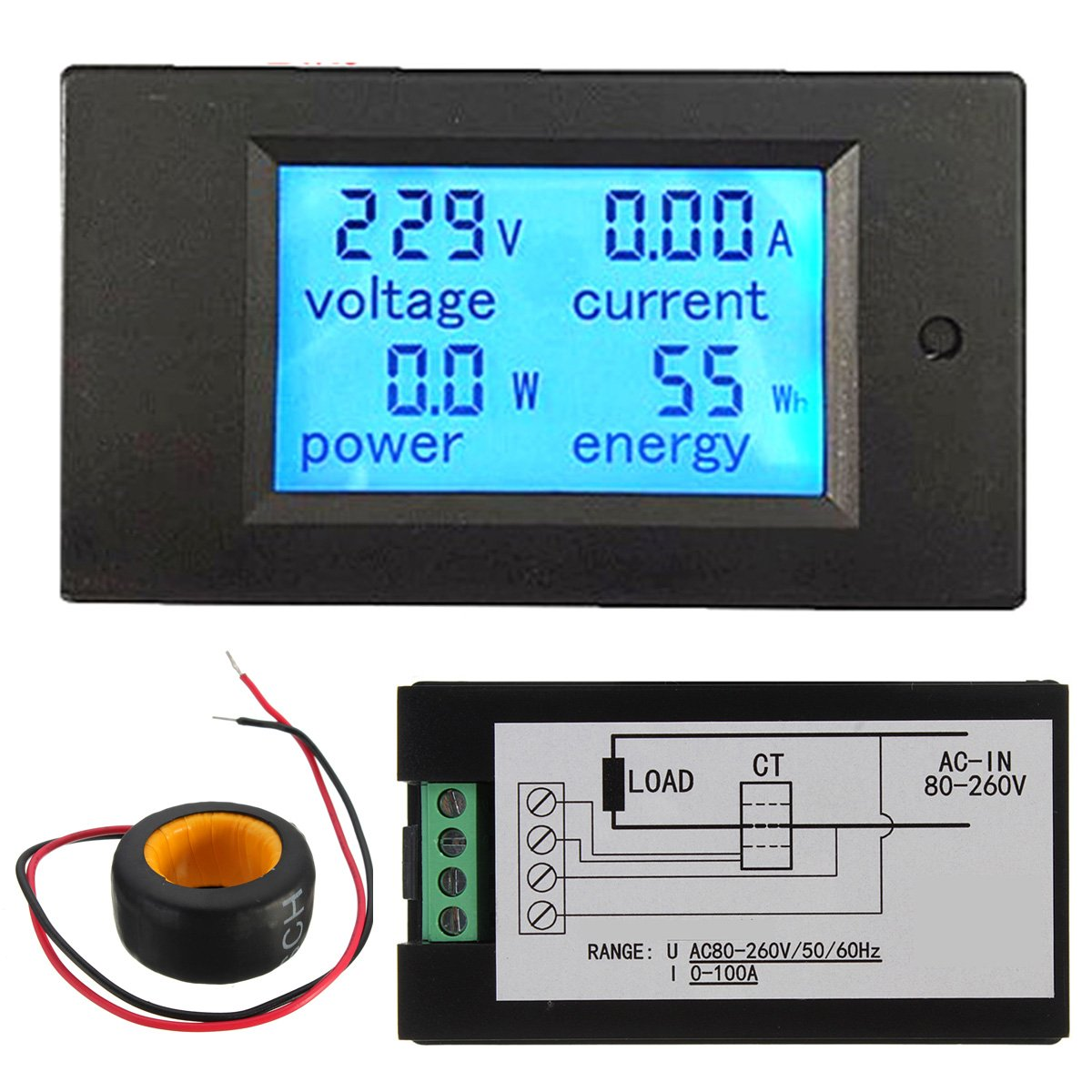 ELEGIANT AC A Digital LED Medidor De Voltaje Electricidad Amperímetro Del Voltímetro