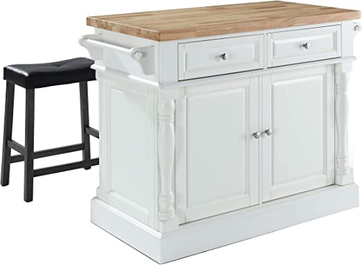 Amazon Com Crosley Furniture Kitchen Island With Butcher Block Top And 24 Inch Upholstered Saddle Stools White Black Kitchen Islands Carts