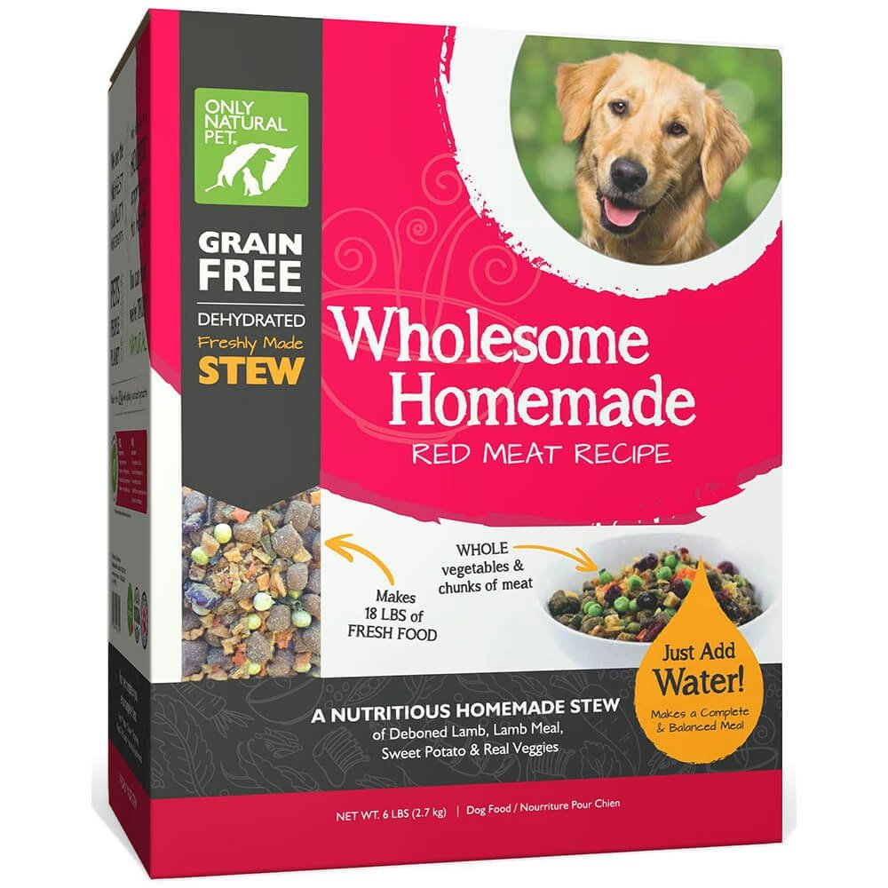 Only Natural Pet Wholesome Homemade Stew Dehydrated Dog Food - Human Grade Formula That Contains Real Wholesome Nutrition, Low Glycemic, Non-GMO - Red Meat Recipe 6 lb Box (Makes 18 lbs of Food) by Only Natural Pet