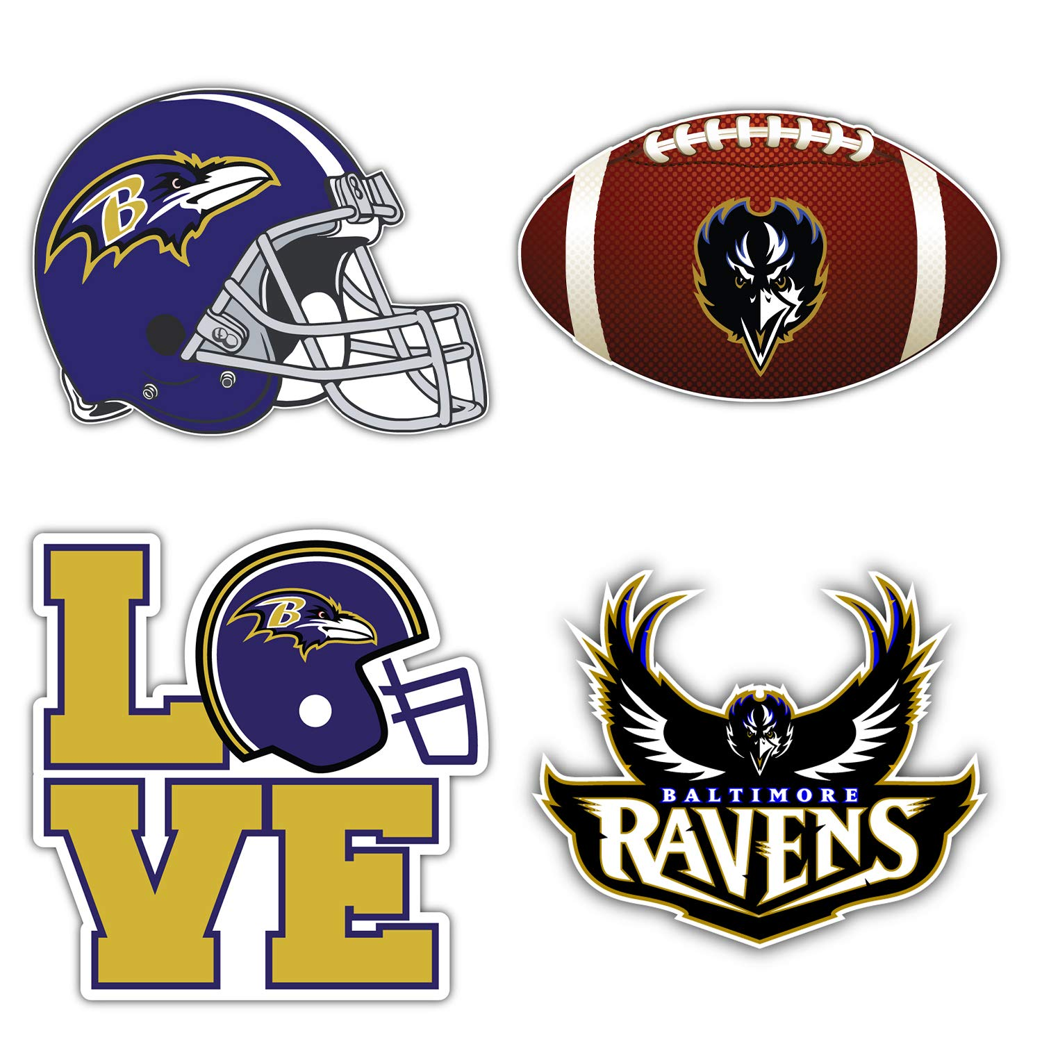 qualityprint Baltimore Ravens Set of 4 NFL Football Car Bumper Stickers Decals 5 Longer Side