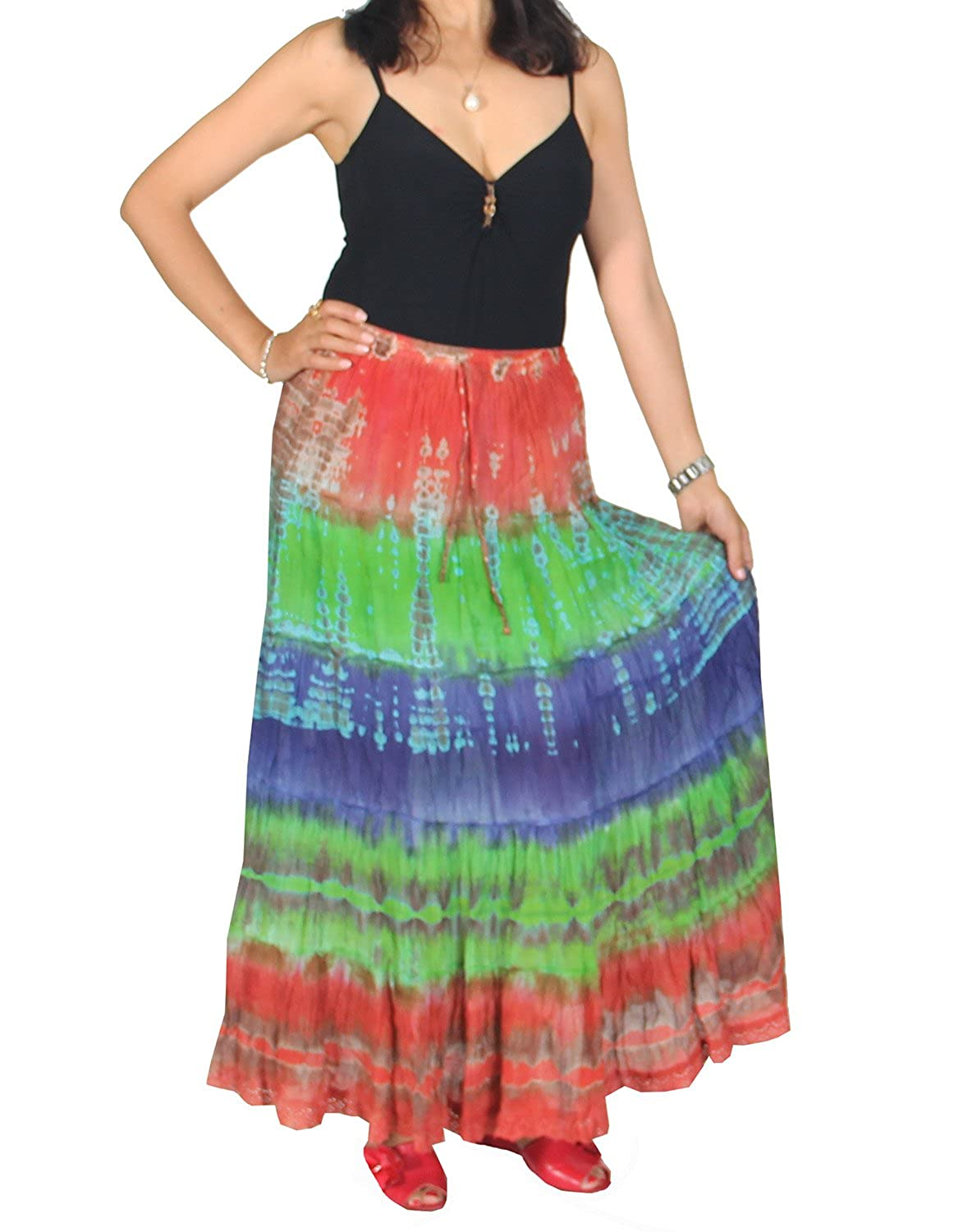 60s Skirts | 70s Hippie Skirts, Jumper Dresses KayJayStyles Womens Hippie Boho Gypsy Tie-dye Long Skirt $18.98 AT vintagedancer.com