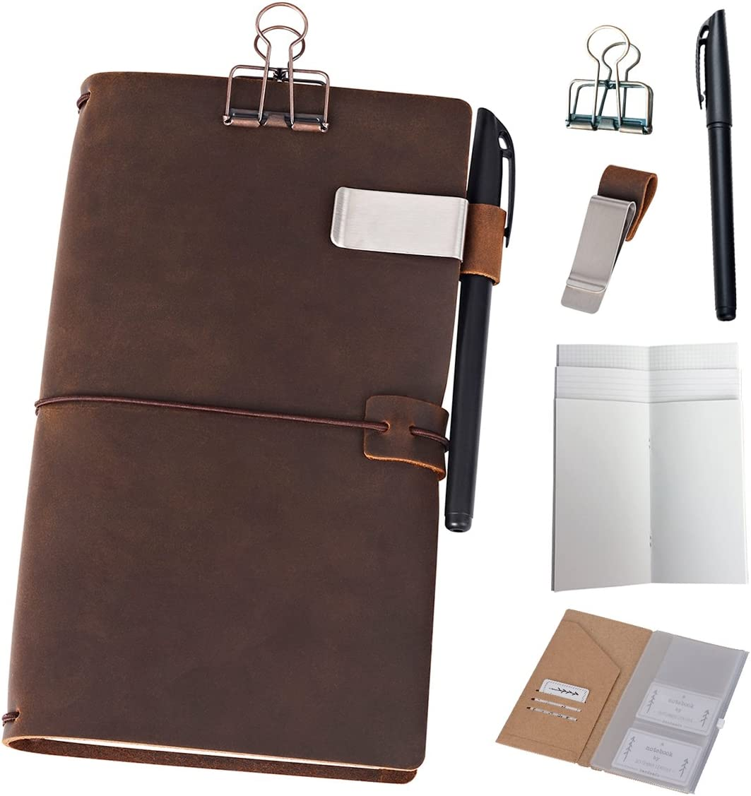 Refillable Leather Journal Travelers Notebook - 8.5 x 4.5 Travel Diary with 5 Inserts + Pen Holder and Binder Clip, Standard Size, Brown