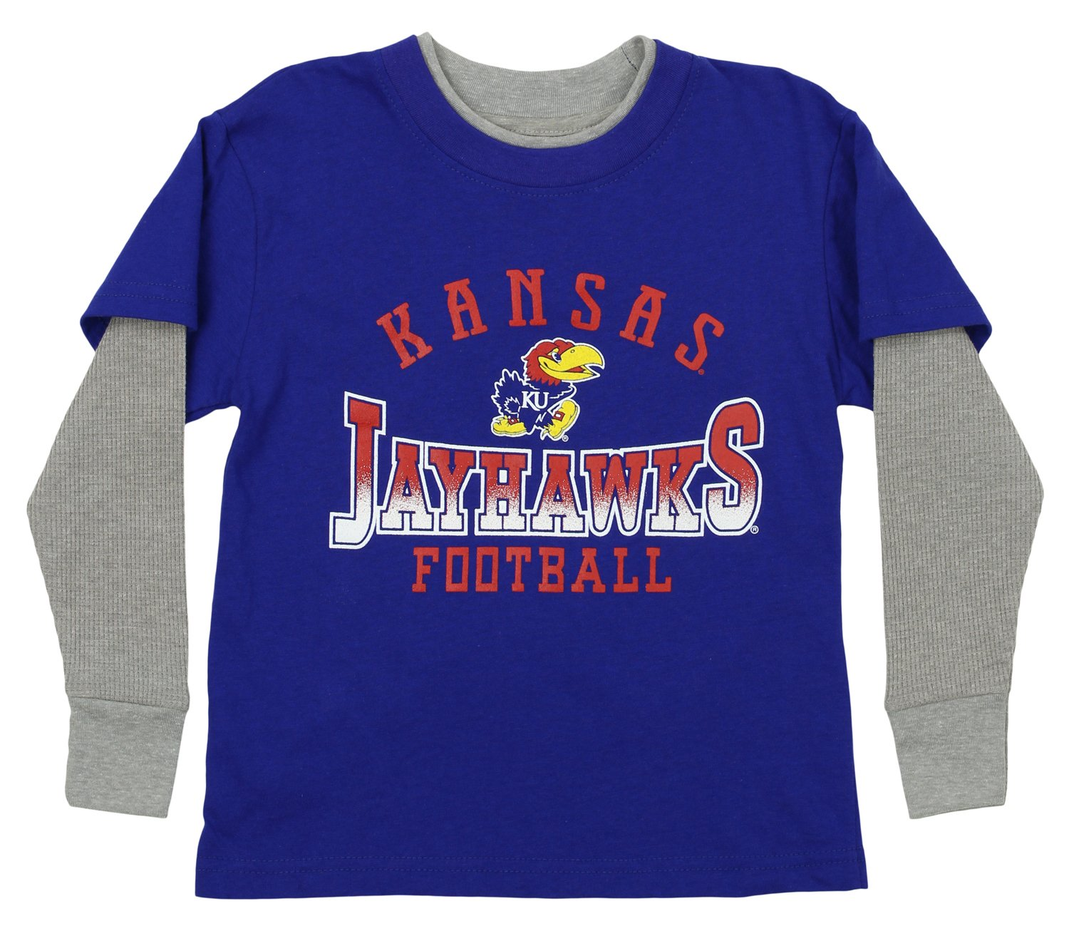 Outerstuff NCAA Little Boys (4-7) Kids Faux Layer Long Sleeve Tee, Many Teams (Kansas Jayhawks, Medium (5/6)) by Outerstuff