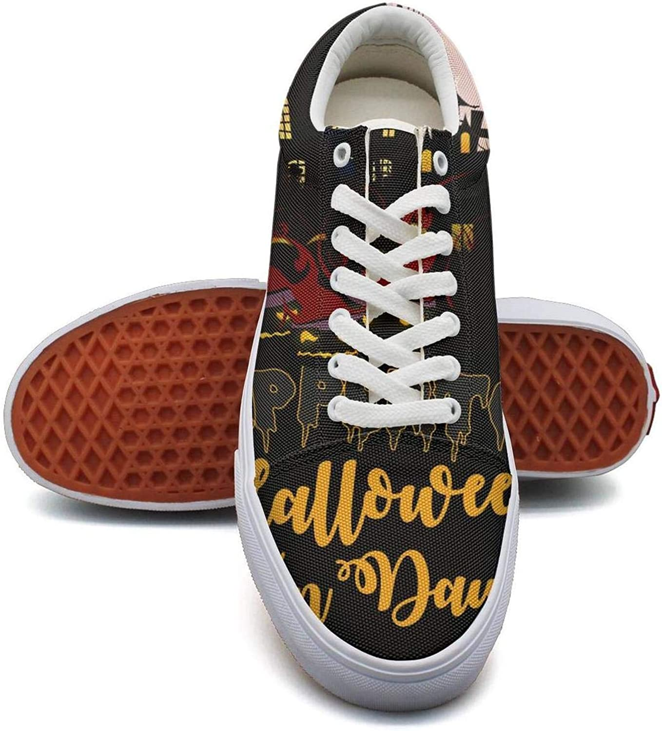 Lady Halloween Trick or Treat Pumpkin Witch Canvas Shoes Low-Cut StrapsFashion Comfortable Sneakers Suitable for Walking