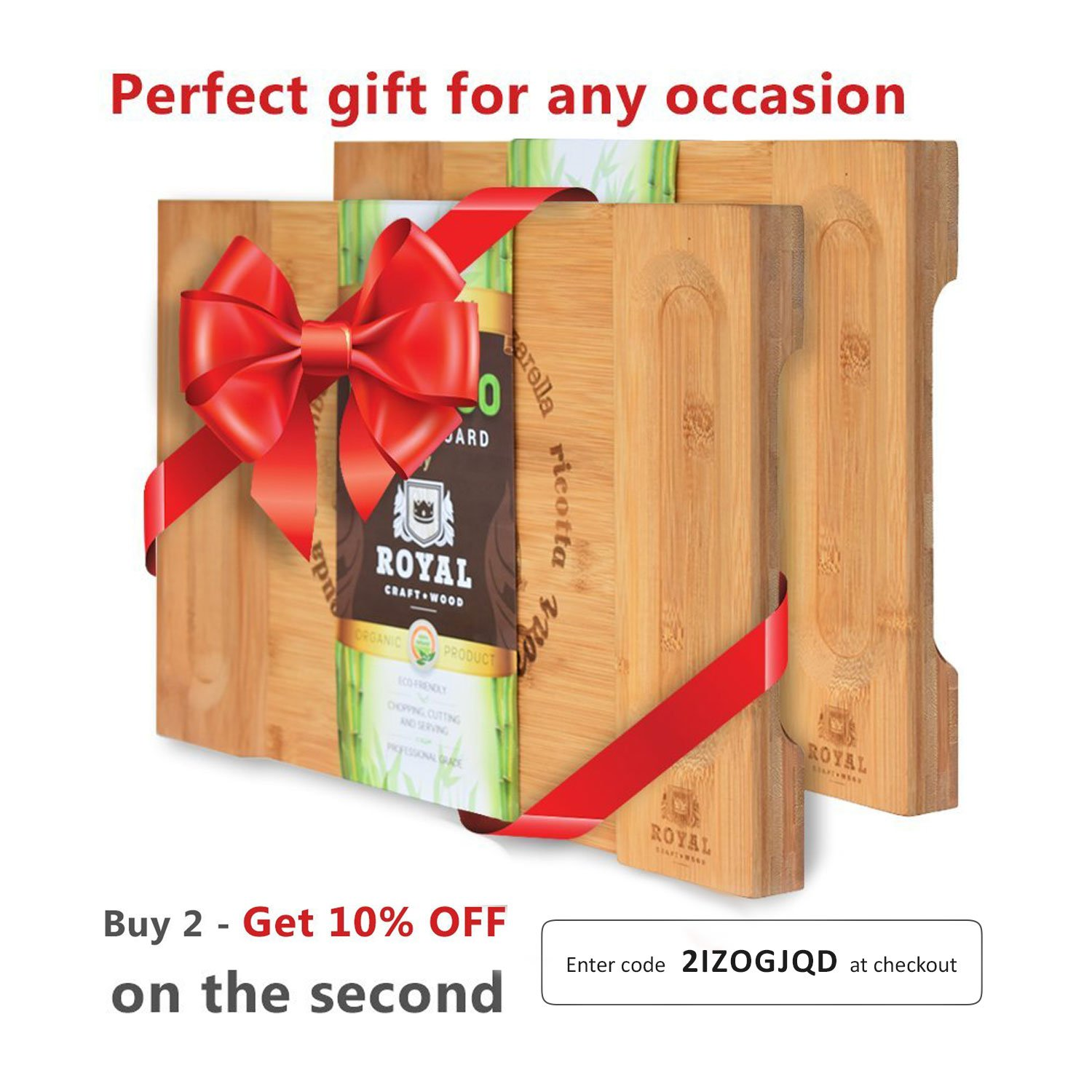 Unique Bamboo Cheese Board, Charcuterie Platter & Serving Tray for Wine, Crackers, Brie and Meat. Large & Thick Wooden Server - Fancy House Warming Gift & Perfect Choice for Gourmets (Bamboo) by Royal Craft Wood (Image #7)