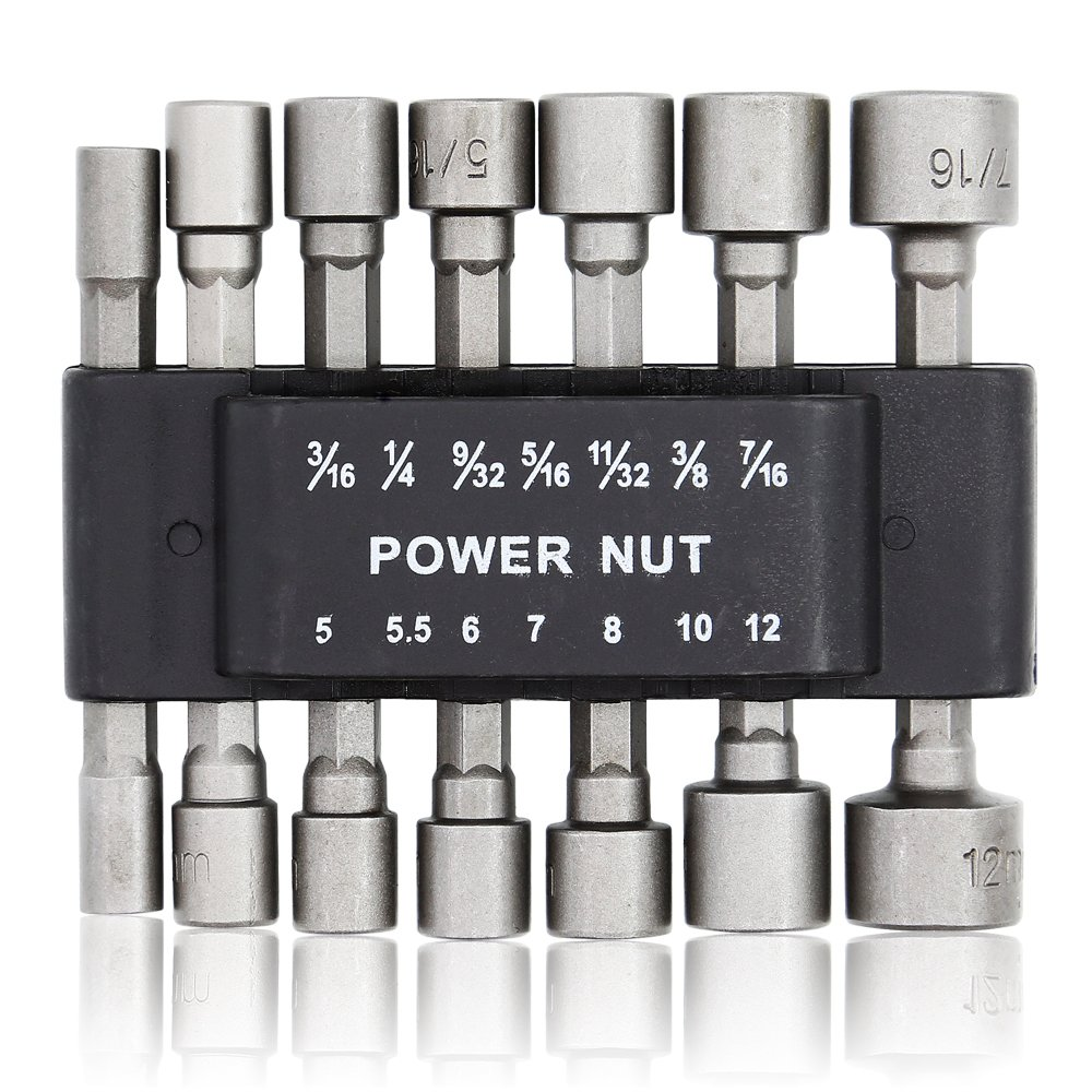 E.Durable Power Nut Driver Set with Belt Clip, (7) SAE & (7) Metric (14-Piece)