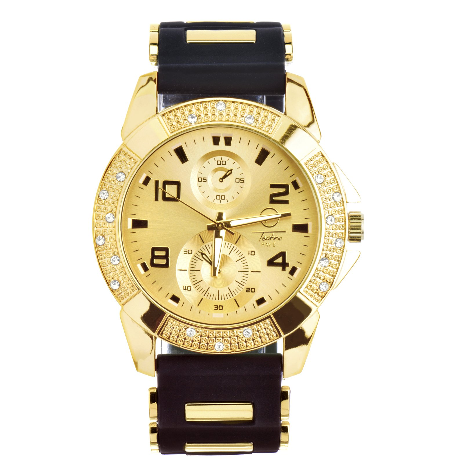 Men's Fashion Hip Hop Bling Iced Out Gold Plated Black Silicon Band Watch WR 8485 GBK by Techno Pave (Image #2)