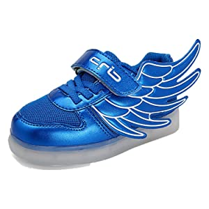Yilaiyiqu_1 Popular Trainers Bright Led USB-rechargeable Unisex Children Blue1.5 M US Little Kid Comfortable