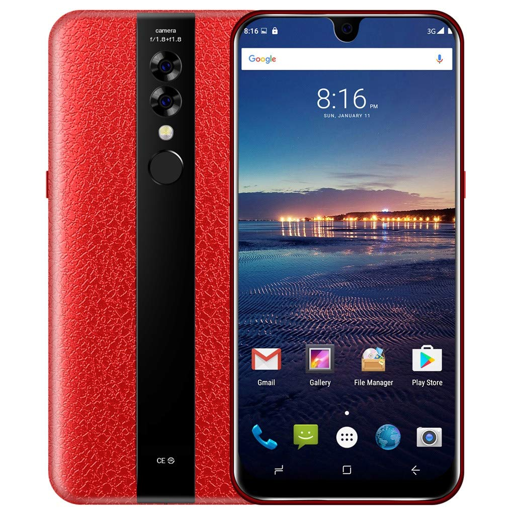 Hot Sale, NDGDA 5.0'' Quad Core 6.2 inch Dual HDCamera Smartphone Android 7.0 32GB Touch Screen WiFi Bluetooth GPS 3G Call Mobile Phone (Red)