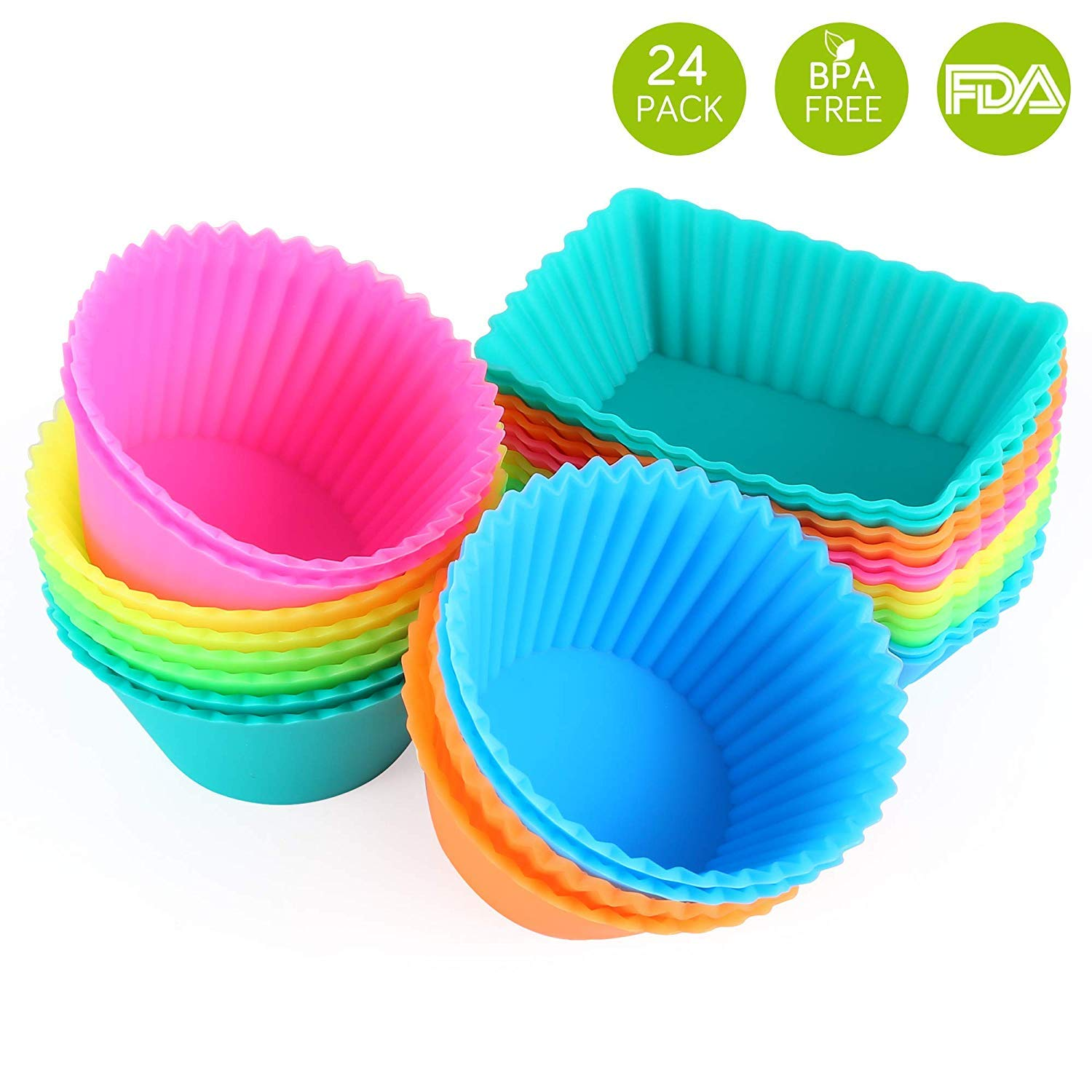 IPOW SC01 Silicone Cupcake Baking Cups Reusable Food-Grade BPA Free Non-Stick Muffin Liners Molds, Standard, Multi-color by IPOW