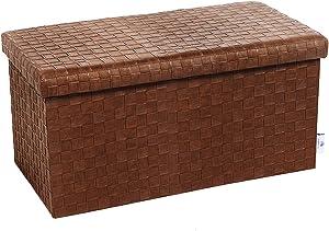 "B FSOBEIIALEO Folding Storage Ottoman, Faux Leather Footrest Stool Long Bench, Brown 30""x15""x15"""