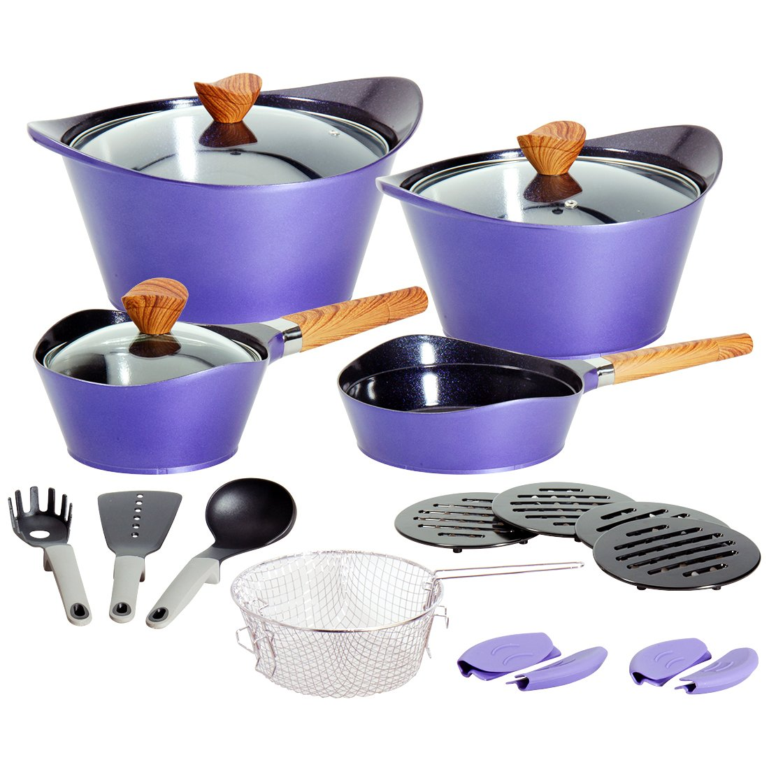 Ceramic Cookware Set Dishwasher Safe Nonstick Aluminum Induction Kitchen Cookware Set with Cooking Utensil Pack- 19 - Purple