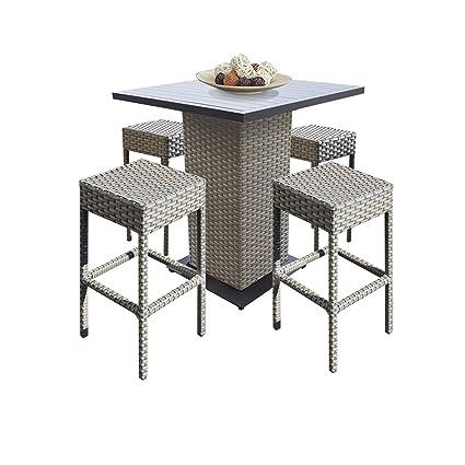 Amazon Com Tk Classics Oasis Outdoor Wicker Patio 5piece Pub Table