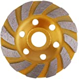 HUELE 4-Inch Concrete Turbo Diamond Grinding Cup Wheel for Angle Grinder 6 Segs Heavy Duty ,Yellow