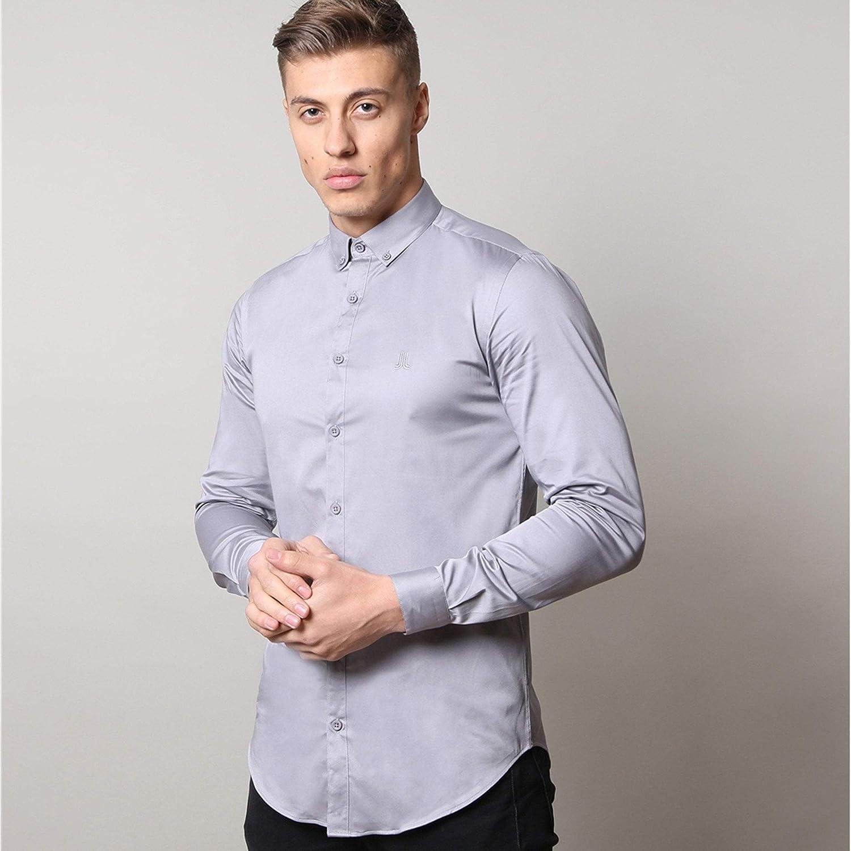 gris S Life and Limb Manches Longues Stretch Satinette Pour des hommes Shirt avec Boutons De Contraste