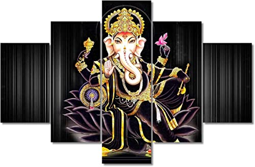 Lord Ganesha Home Decor Hindu God Wall Paintings 5 Pieces Canvas Wall Art Home Decoration