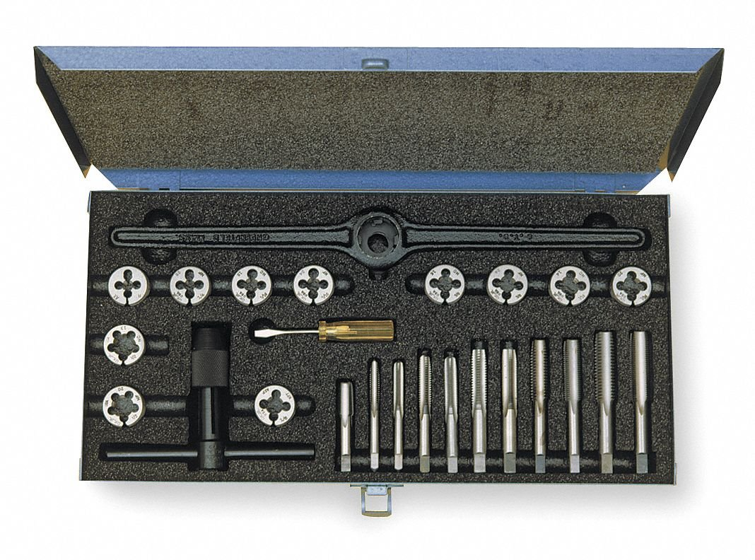 47-Piece High Speed Steel Tap and Die Set with 1/4'' to 1'' Size Range