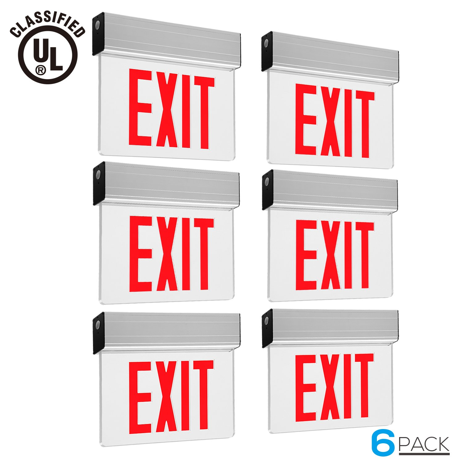 Red LED Exit Sign, UL-Listed Emergency Light, AC 120V/277V, Battery included, Single/Double Face, Ceiling/Side/Back Mount Sign Light, for Hotels, Restaurants, Shopping Malls, Hospitals, Pack of 6