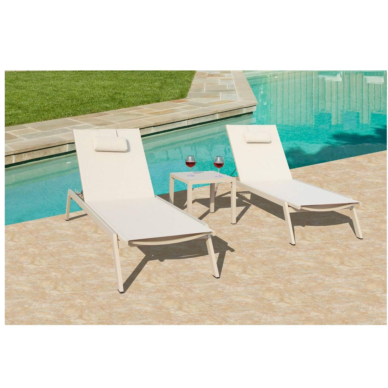 3 Piece Carina Outdoor Patio Dining Set Powder Coated Aluminum Almond Frame Finish 77.5''