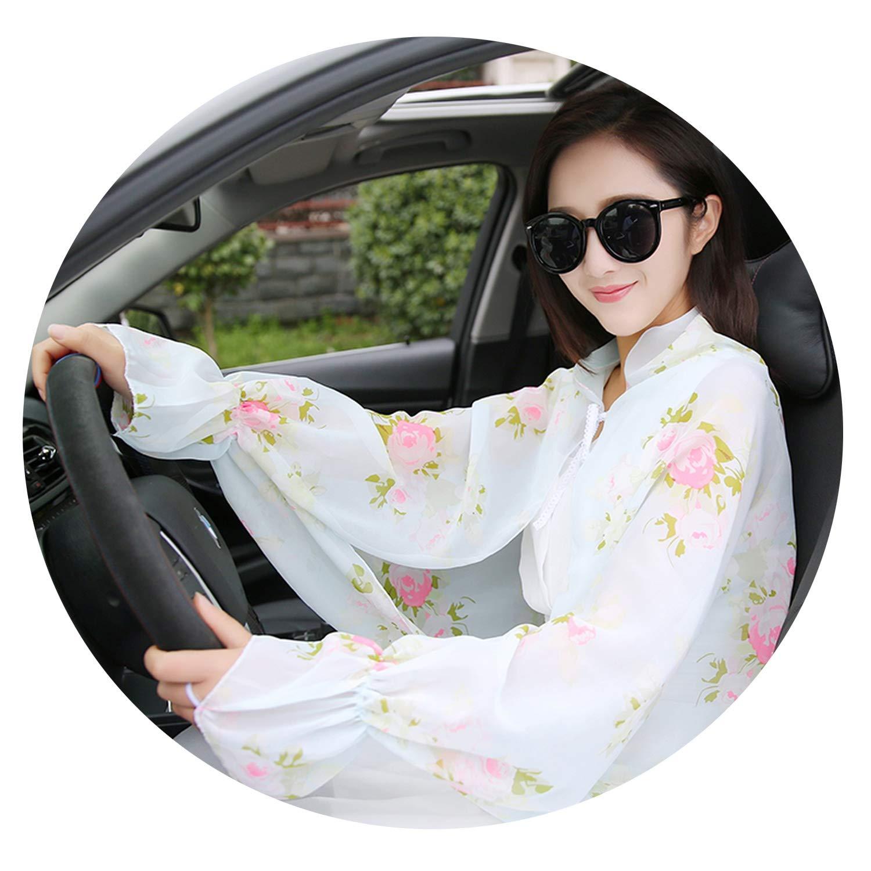 Spring Summer Women 'S Sunscreen Uv Arm Sleeve Sleeve Drive Chiffon Cloak Air Conditioning Shawl,Light green