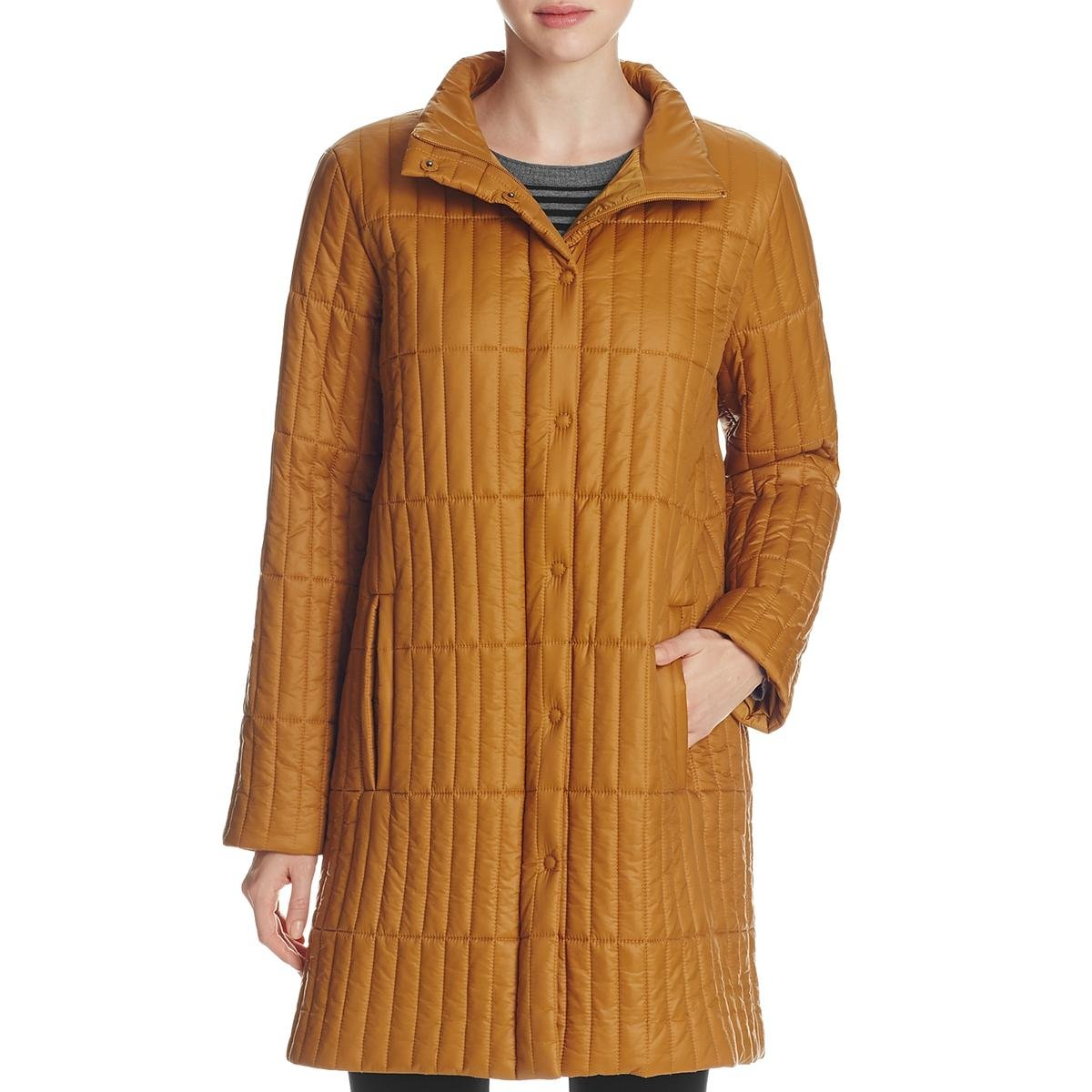 Eileen Fisher Womens Petites Stand Collar Long Sleeves Quilted Coat Gold PP
